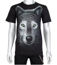 Šviečiantys tamsoje Marškinėliai Wolf green eyes