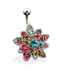 Flower curved barbell Thickness 1.6mm Length 10mm