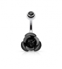 Black Rose curved barbell Thickness 1.6mm Length 10mm Ball 5mm