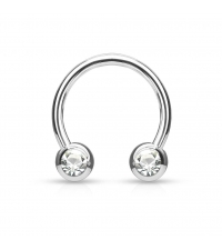 Surgical steel Circular barbell with frontal white crystals