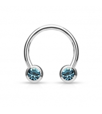 Surgical steel Circular barbell with blue frontal crystals