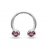 Surgical steel Circular barbell with frontal pink crystals