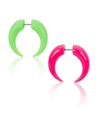Colorful fake horn earring