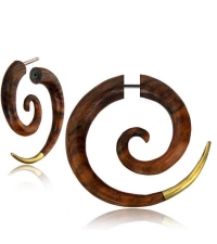 Fake spiral earring with brass tip Diameter 6mm