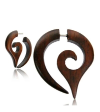 Wooden earring spiral Drop Diameter 6mm