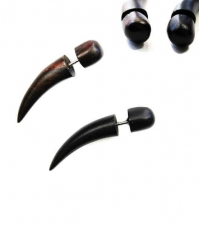 Wooden earring horn Length 38mm Diameter 7mm