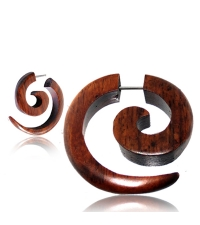 Fake horn earring Classic brown curl
