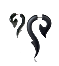 Wooden spiral earring Black sea horse