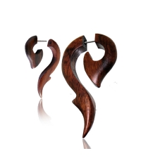 Wooden spiral earring Brown sea horse