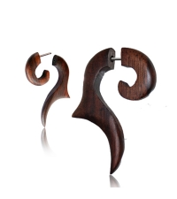 Wooden spiral earring Brown carved horse