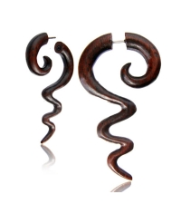 Fake horn earring Brown worms