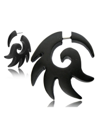 Fake horn earring Black sun