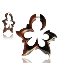 Wooden earring Carved flower