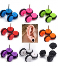 Earring fake plug imitation Thickness 1.2mm Length 7mm Diameter 10mm