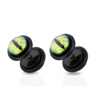 Earring fake plug imitation Cat eye Diameter 8mm