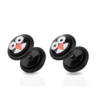 Earring fake plug imitation Penguin Diameter 8mm