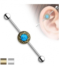 Industrial barbell turquoise stone Thickness 1.6mm Length 38mm Balls 5mm