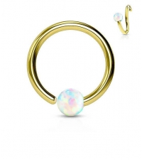 Annealed ring with opal Gold