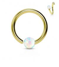 Кольцо разжимное с опалом золотистое