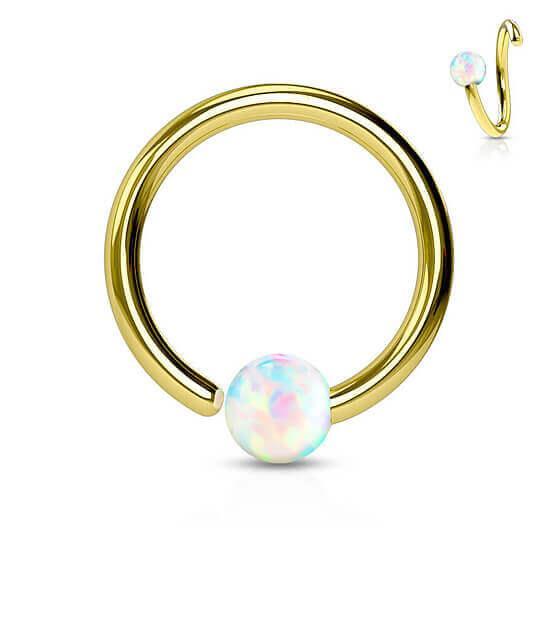 Atlenkiamas  žiedas su opalu Auksinis