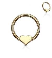 Annealed ring with a heart Gold Thickness 1.2mm Diameter 10mm