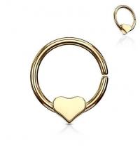 Кольцо разжимное с сердечком золотистое толщина 1.2 мм. диаметр 10 мм.