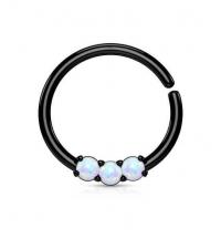 Кольцо разжимное с тремя опалами черное толщина 1.2 мм. диаметр 10 мм.