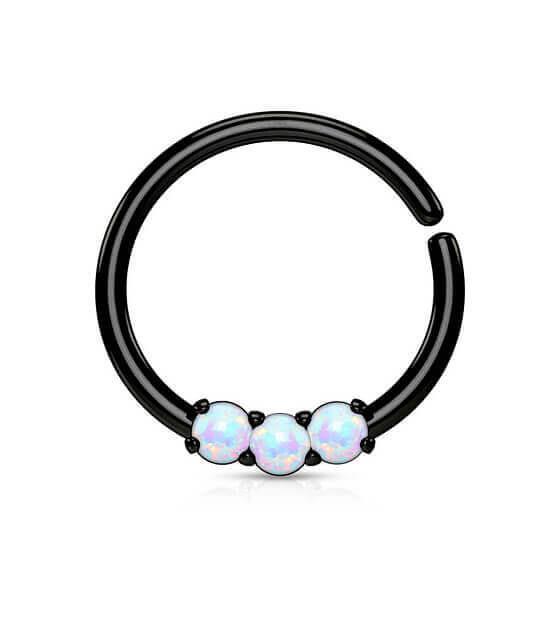 Atlenkiamas  žiedas su 3 opalo akutėmis juodas Storis 1.2mm Diametras 10mm