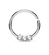 Кольцо разжимное с тремя кристаллами металлик толщина 12 мм. диаметр 10 мм.
