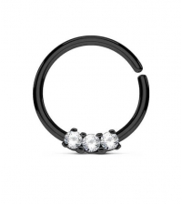 Annealed ring with 3 crystals black Thickness 1.2mm Diameter 10mm