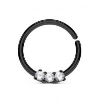 Кольцо разжимное с тремя кристаллами черное толщина 1.2 мм. диаметр 10 мм.
