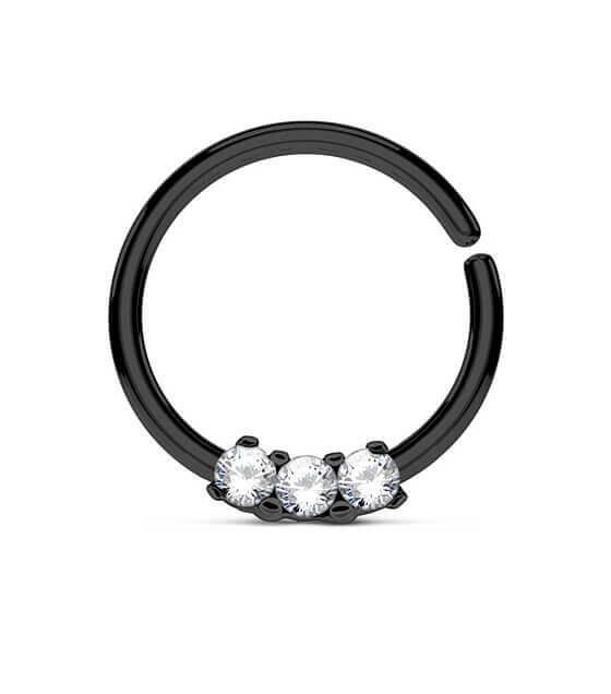 Atlenkiamas  žiedas su 3 akutėmis juodas Storis 1.2mm Diametras 10mm