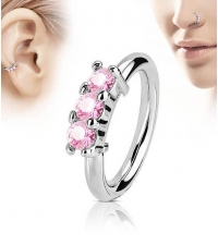 Annealed ring with 3 pink crystals on the front  Thickness 1.2mm Diameter 8mm