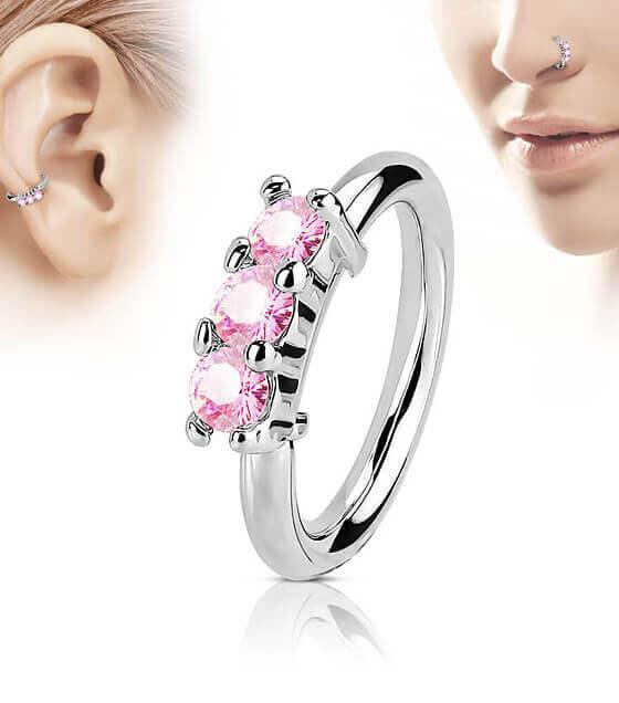 Atlenkiamas žiedas su 3 rožinėmis akutėmis iš priekio Storis 1.2mm Diametras 8mm