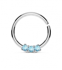 Annealed ring with 3 blue crystals Thickness 1.2mm Diameter 10mm