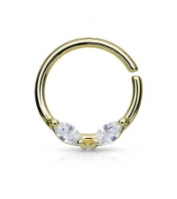 Annealed ring with 2 crystals Gold Thickness 1.2mm Diameter 10mm