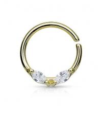Кольцо разжимное с двумя кристаллами золотистое толщина 1.2 мм. диаметр 10 мм.