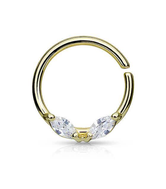 Atlenkiamas žiedas su 2 kristalais Auksinis Storis 1.2mm Diametras 10mm