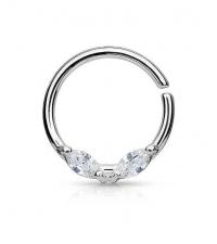 Atlenkiamas žiedas su 2 kristalais Storis 1.2mm Diametras 10mm
