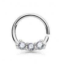 Кольцо разжимное с тремя кристаллами толщина 1 мм. диаметр 8 мм.