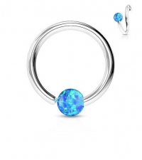 Annealed ring with blue opal