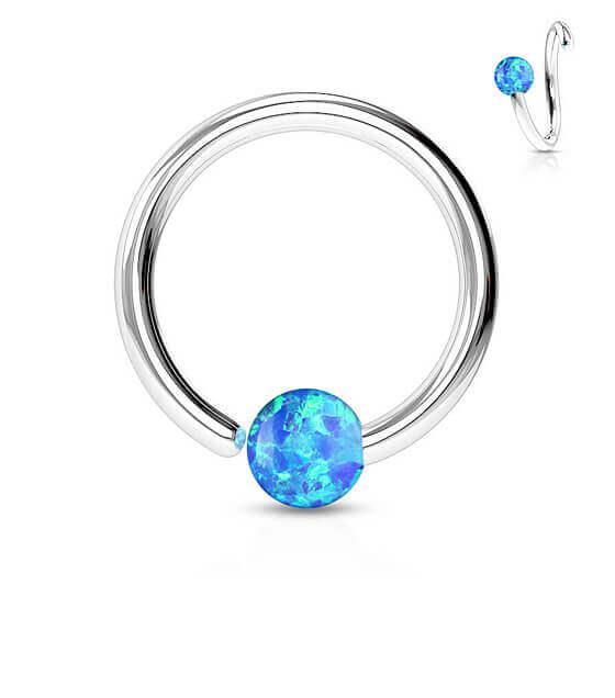 Atlenkiamas žiedas su mėlynu opalu