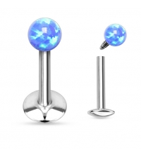 Internally threaded labret Blue opal Thickness 1.2mm Length 8mm Ball 3mm