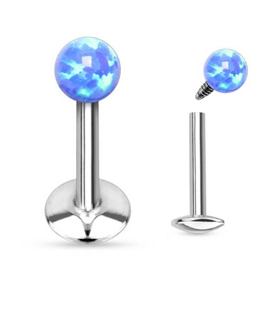 Plieninis auskaras su plokštele su vidiniu sriegiu Mėlynas opalas Storis 1.2mm Ilgis 8mm Užsukimas 3mm