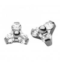 Titanium internally threaded 0,9mm triangle gem with CZ diamonds