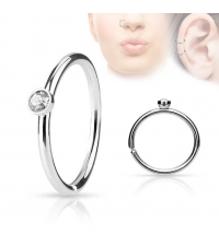 Кольцо в крыло носа и ухо с кристалом 2 мм толщина 0.8 мм. диаметр 8 мм.