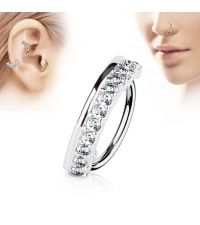 Кольцо в крыло носа и ухо Кристаллы толщина 1 мм. диаметр 8 мм.