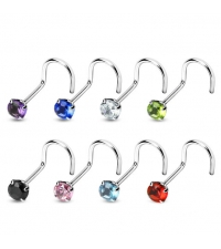 Nose hook with crystal Thickness 1,0mm Length 6-7mm Cap size 3mm