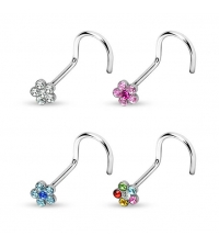 Nose stud Crystal flower Thickness 1mm Length 6-7mm