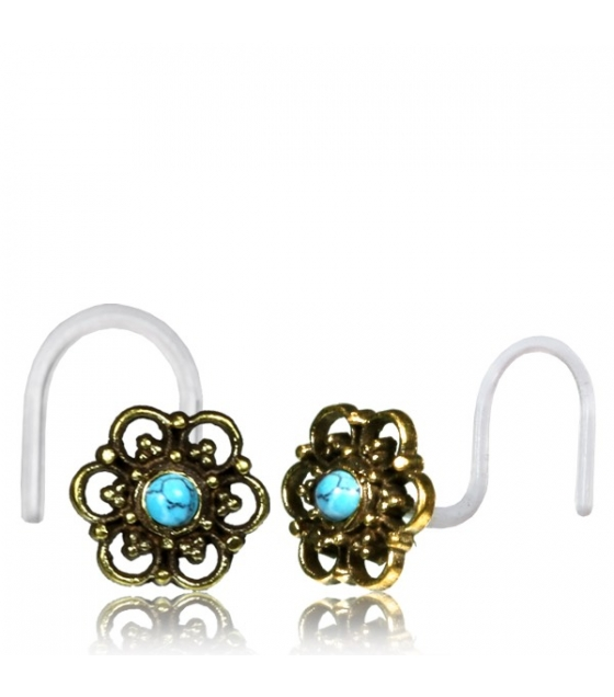 Nose hook Antique flower with blue stone Thickness 0,8mm